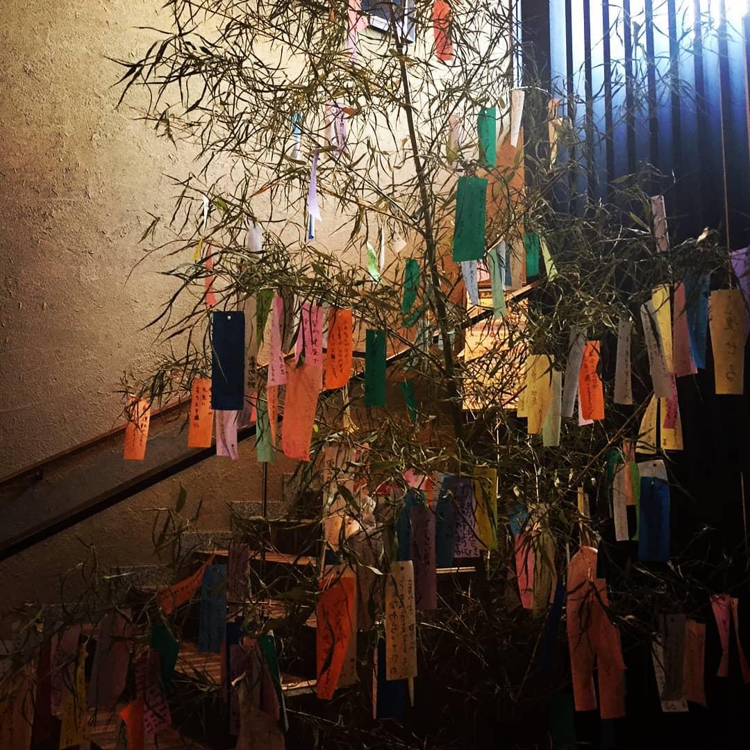 笹の葉サラサラ♪天山の湯に七夕の笹が設置されました!すでに沢山の短冊がかけられてますね。七月七日までの設置です、皆さんの願い事を短冊に込めて下さい。